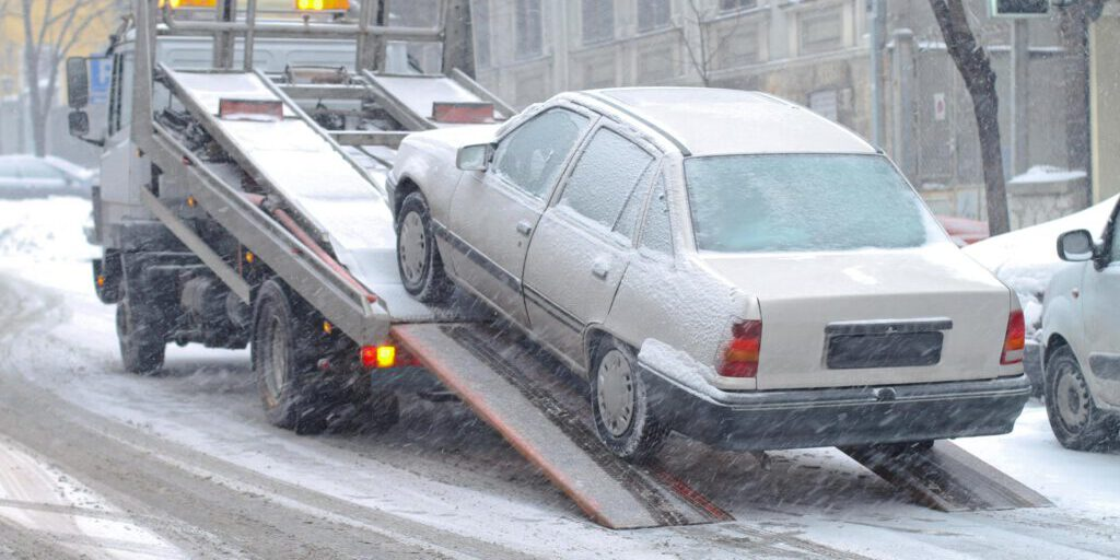 towing truck in the snow